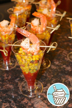 Shrimp Corn Salsa Shooters