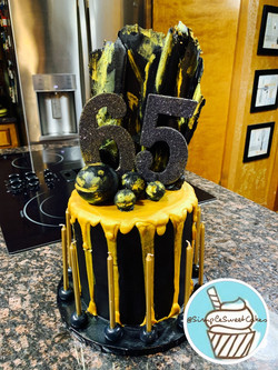 Black and Gold Cake - Happy Sixty Five!