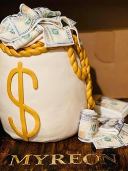 Money Bag birthday cake boxed!