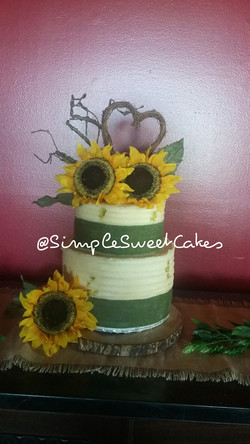 Big Country Sunflower Wedding Cake