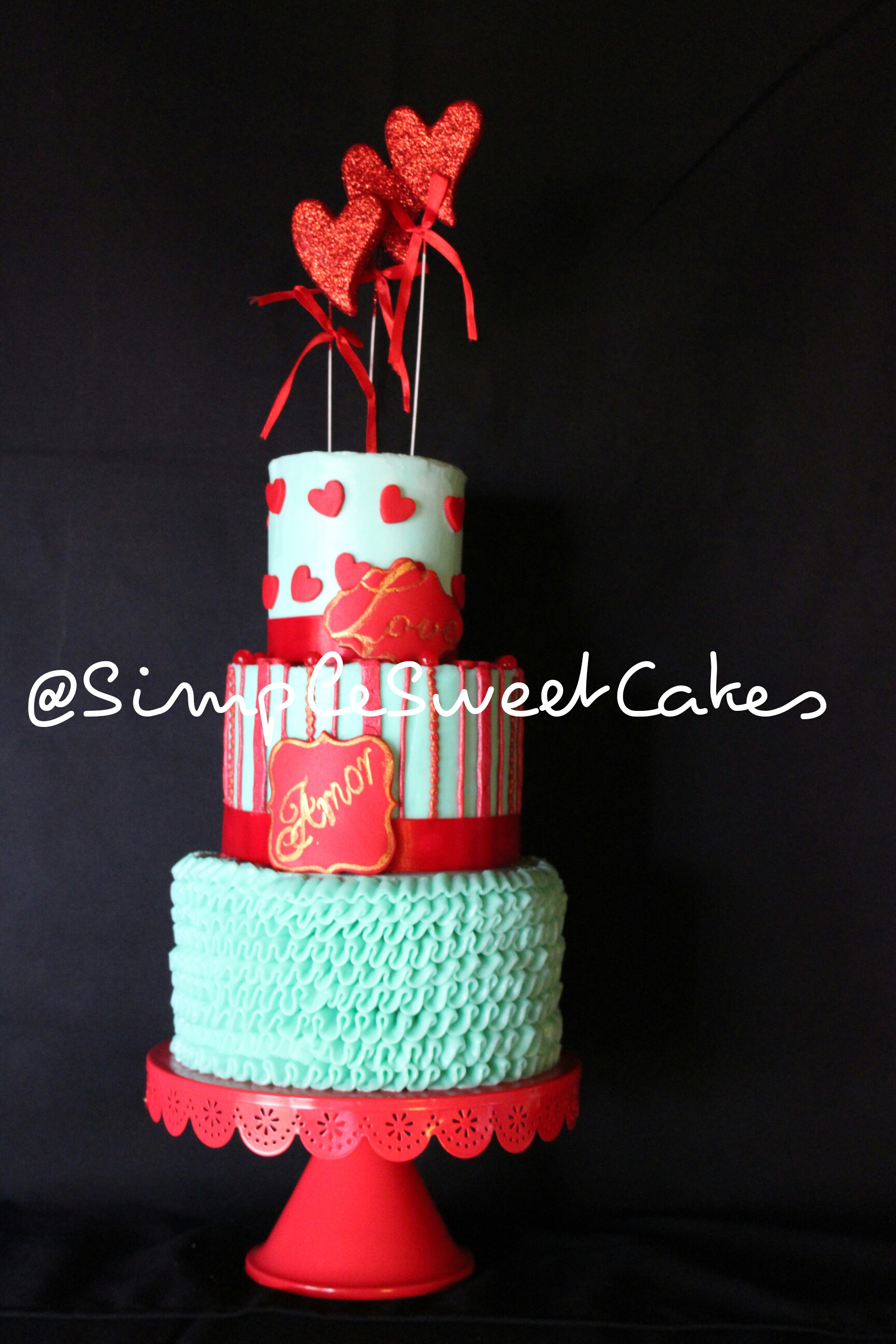 """Quirky & Whimsy"" Valentine Cake"
