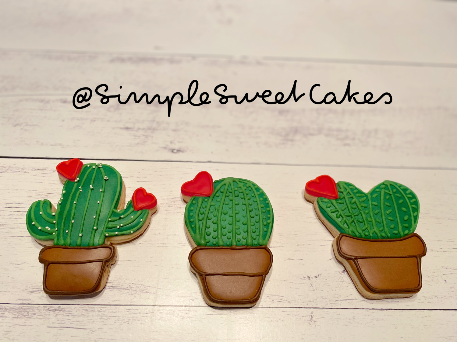 Valentine Cookies - Heart-shaped Cacti