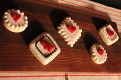Assorted Handmade Hearts on Cookies