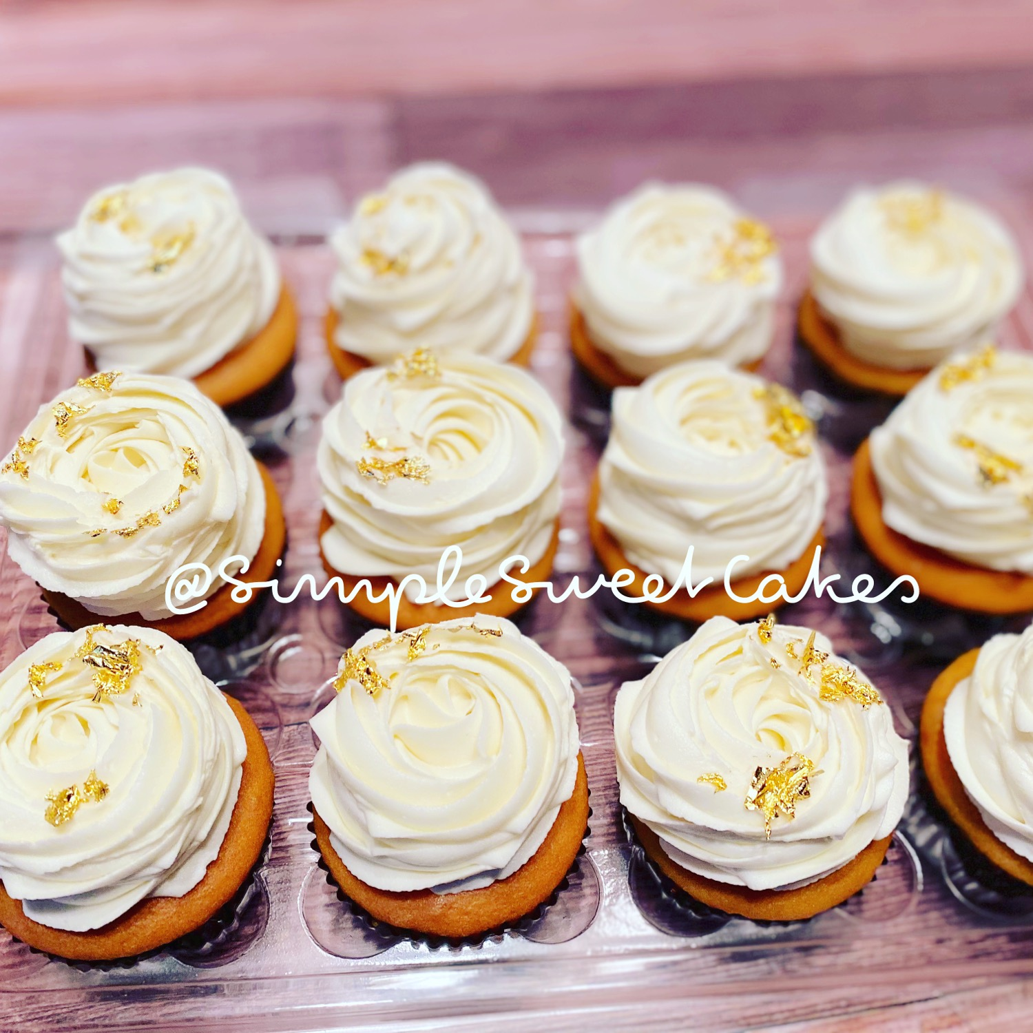 Vanilla Cupcakes with Edible Gold Leaf