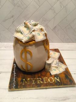 Money Bag Birthday Cake!