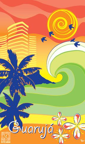 Ilustração digital para canga turística