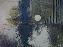 Moon #4-30H x 40W oils on canvas