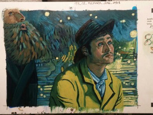 My final Frame of Postman and Armand looking up at the Starry Night