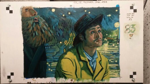 My final frame, Postman and Armand looking at Starry Night