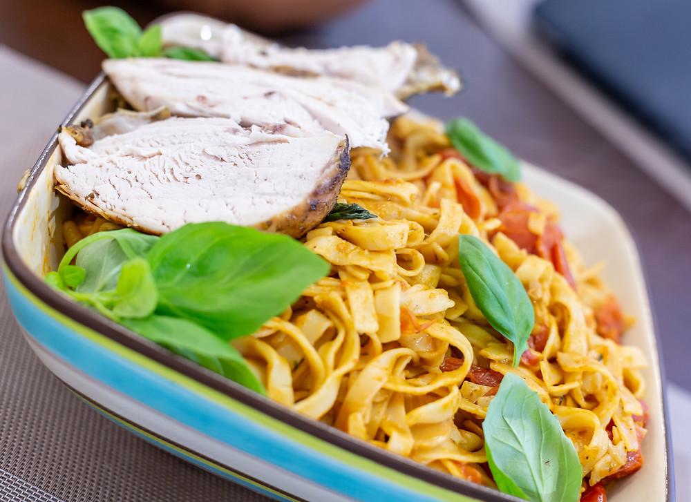 Get Inspired with this Mediterranean Roast Chicken Pasta.