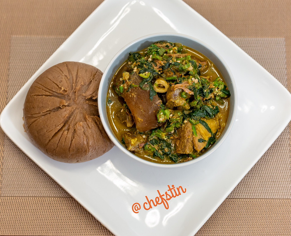Yam flour (Amala) Served with Chefstin's Special Okra Spinach Soup