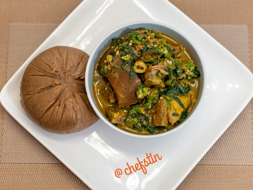 Yam flour (Amala) Served with Chefstin's Special Okra Spinach Soup.
