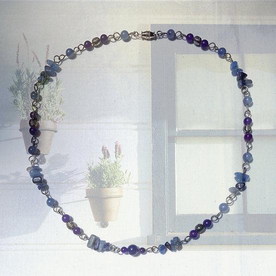 """Blue Quartz Gemstones & Blue Aventurine Gemstones 20"""" Necklace"""