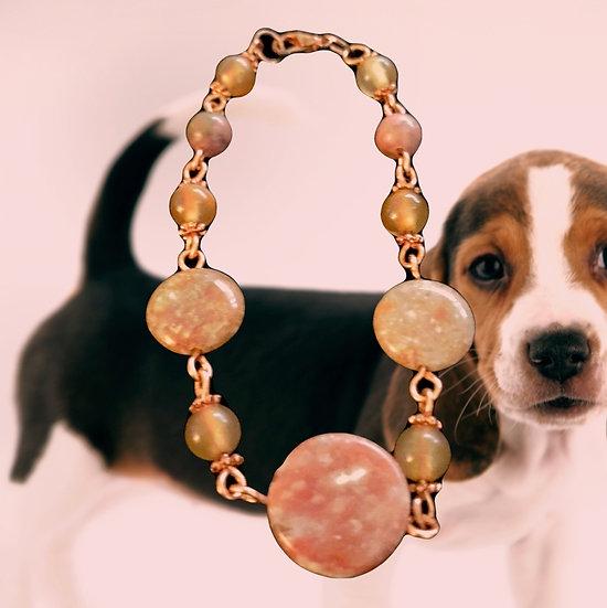 "Red Rhodonite & Chinese Unakite Gemstones Rose Gold Plated 7-1/4"" Bracelet"