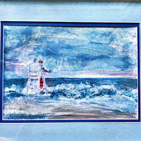 "Seaside Lifeguards Acrylic 24"" X 20"" Framed Painting"