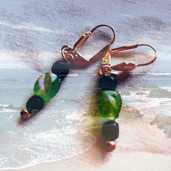 Green Czech Flash Glass & Black Agate Gemstones Dangles Earrings
