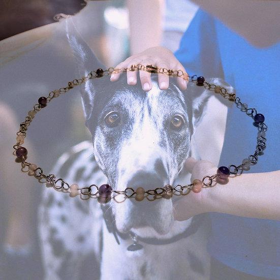 """Amethyst & Rose Quartz Gemstones 18-1/4"""" Necklace"""