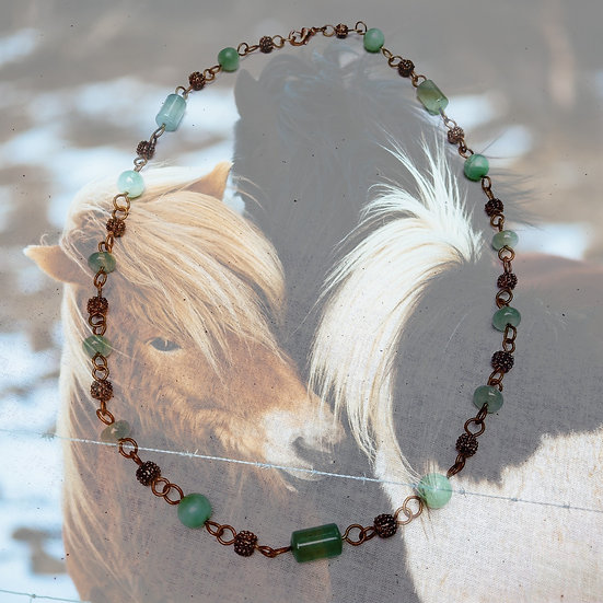 "Light Green Amazonite & Aventurine Gemstones 19-1/2"" Necklace"