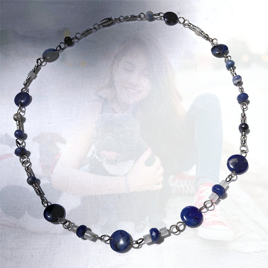 "Blue Sodalite Gemstones 21"" Necklace"
