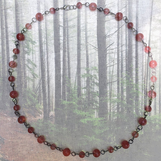 "Cherry Quartz Rounds Gemstones 25-1/2"" Necklace"