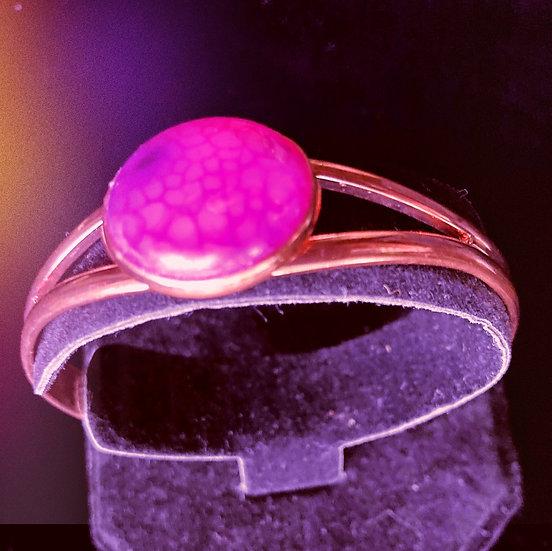 Purple Onyx Dragon Veins Agate Cabochon Gemstone Bracelet