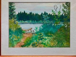 "Canoe Launch for Pond 22-1/2"" X 18-1/2"" Watercolor Painting"