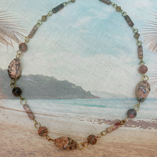"Red Leopard Jasper Gemstones 17"" Necklace"