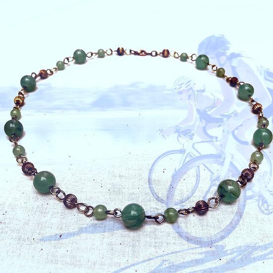 "Light Green Fancy Jasper Gemstones 19"" Necklace"