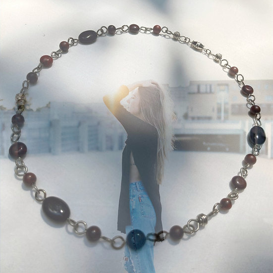 "Rainbow Black Obsidian & Brecciated Jasper Gemstones 18-3/4"" Necklace"
