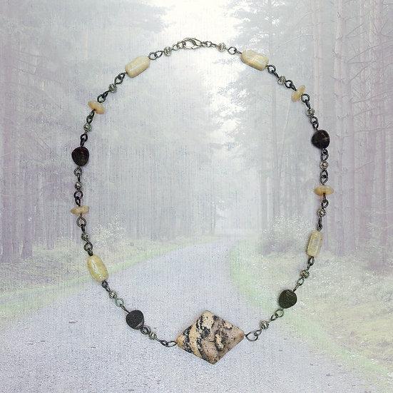 "Yellow Turquoise Gemstones 19-1/4"" Necklace"