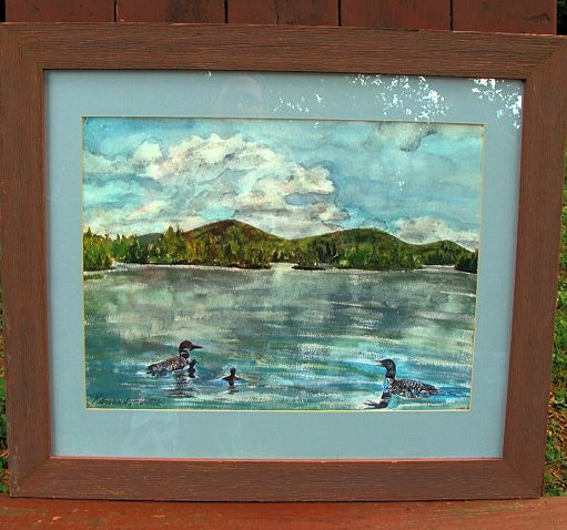 Loons on Kezar Lake, Maine Watercolor Painting
