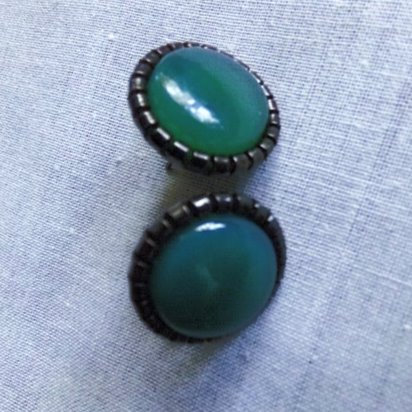 Green Onyx large Cabochon Gemstones Posts Earrings