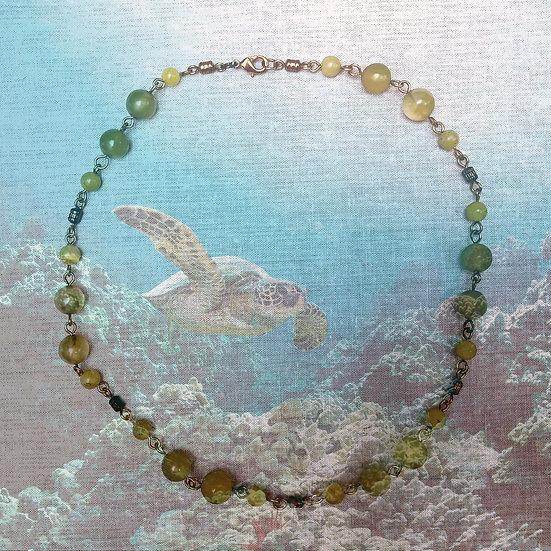 "Korean Jade Gemstones 18"" Necklace"