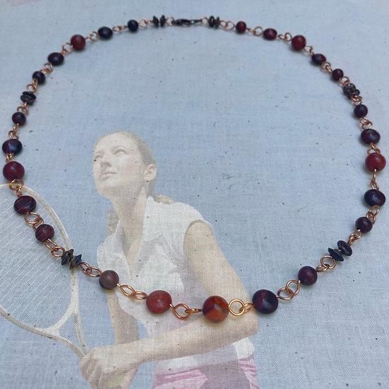 "Red Brecciated & Black Jasper Gemstones 21-3/4"" Necklace"