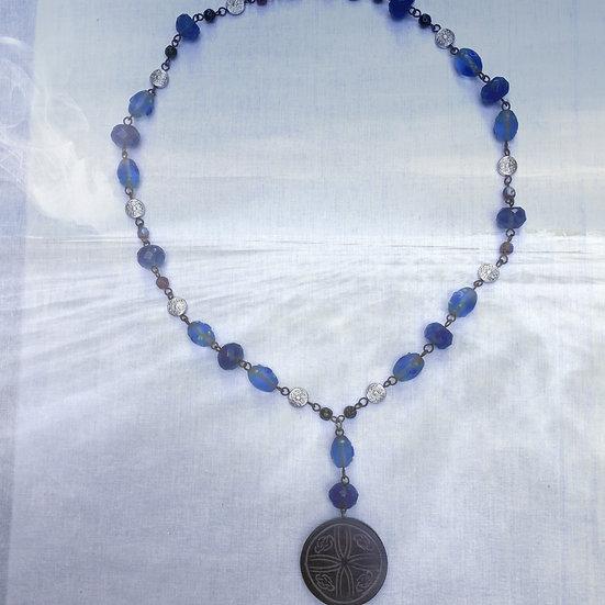 "Blue Fancy Artwork Glass & Brown carved disc pendant 26"" Necklace"