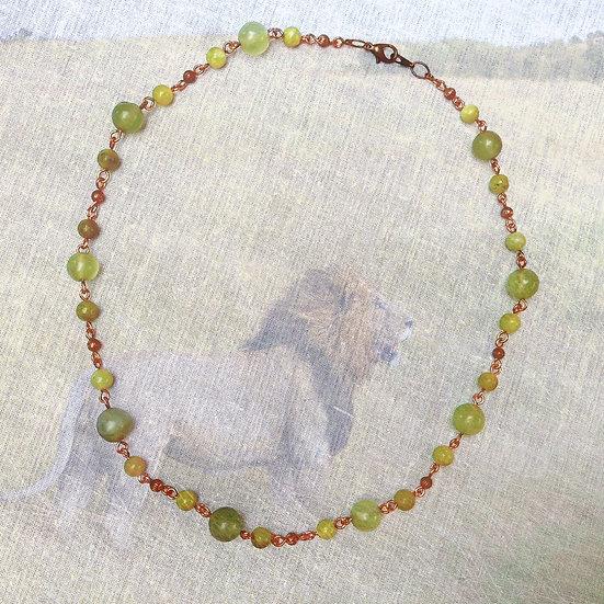 "Green Jade Gemstones copper 19"" Necklace"