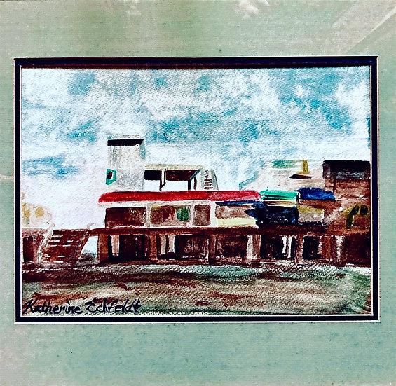 "Seaside Boardwalk Acrylic 21-1/4"" X 17-1/4"" Framed Painting"