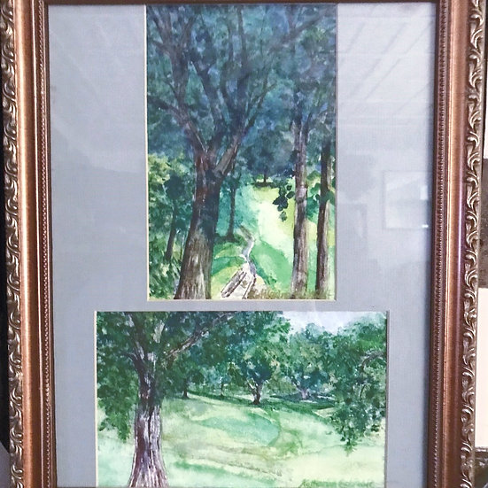 "Watercolor Paintings 13"" x 16"" Diptych Golf Course Bridge & Greens"