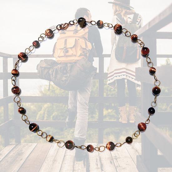 "Tiger Eye 16-1/4"" Gemstones Necklace"