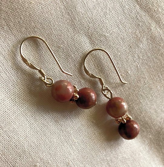 Red Rhodonite Gemstones Dangles Earrings Pair