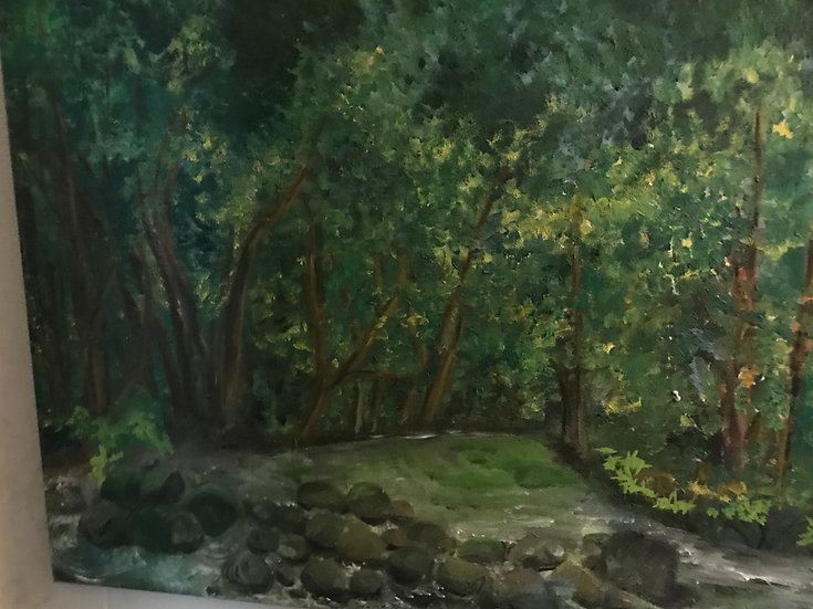 Pennypack Stream Oil Painting on Stretched Canvas
