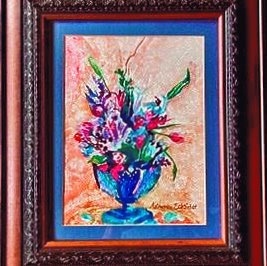 "Flower Arrangement 16-3/4"" X 19-3/4"" Watercolor Painting"