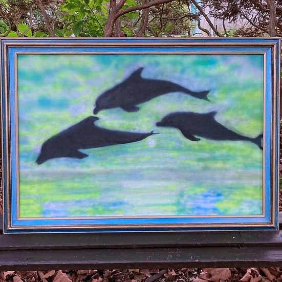 """3 Jumping Dolphins Acrylic Airbrush 40-1/2""""x 28-1/2"""" Painting"""
