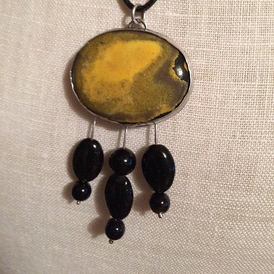 Bumblebee Jasper Gemstone & Black Onyx Gemstone 925 S/S Pendant Necklace