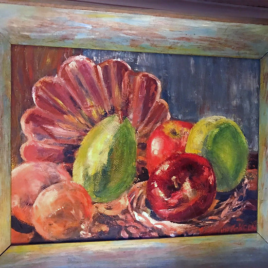 "Oil Painting on Stretched Canvas 16"" x 20"" Apples Pear & Onions Still Life"