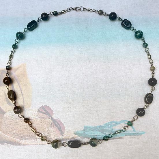 """Green & Brown Jasper Gemstones 22-1/4"""" Necklace"""