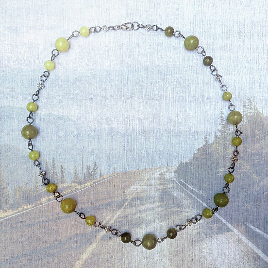 "Green Jade Gemstones antique silver plated 22"" Necklace"