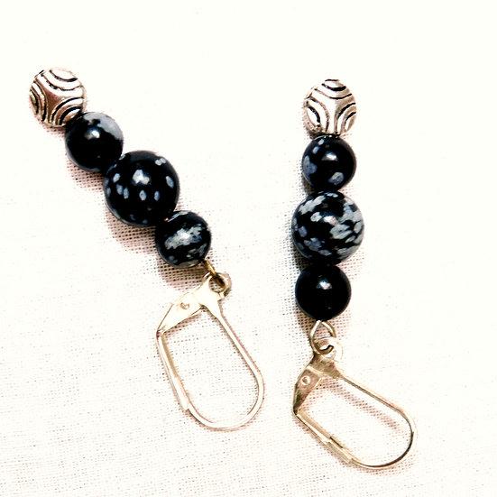 Black & Gray Snowflake Obsidian & Black Onyx Gemstones Earrings