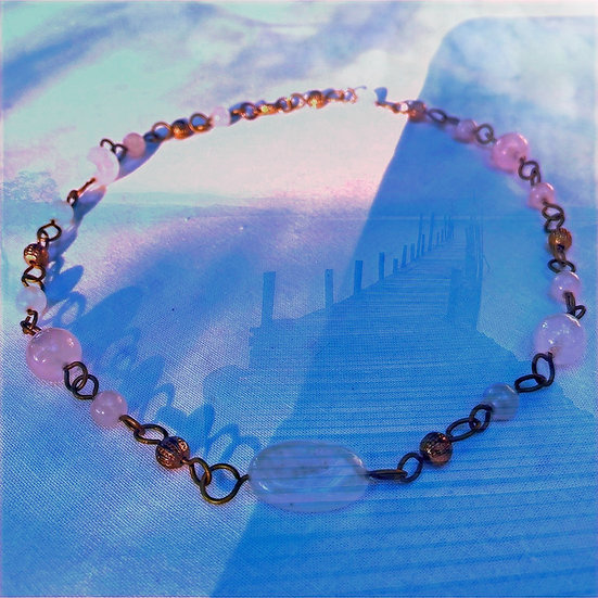 "Rose Quartz Gemstones 16-1/2"" Necklace"