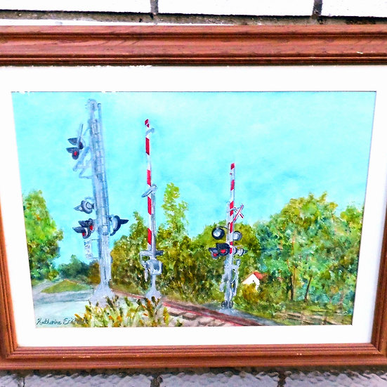 "Farm Scene at Railroad Crossing 28"" x 22"" Watercolor Painting"